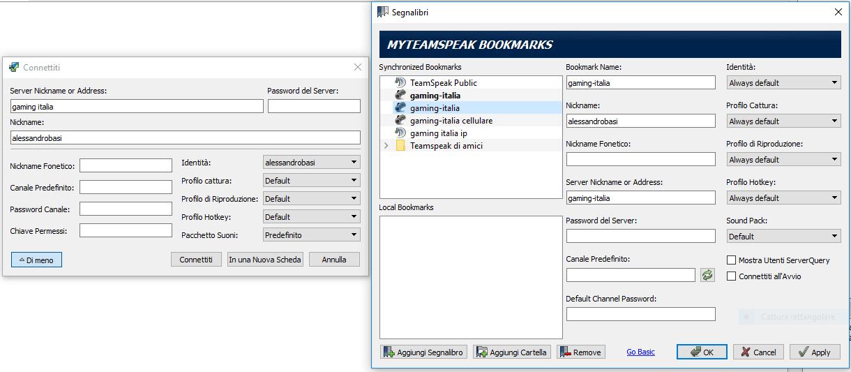Connessione con un server nickname