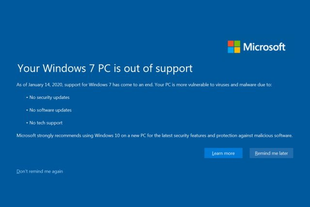 Windows 7 avviso di fine supporto
