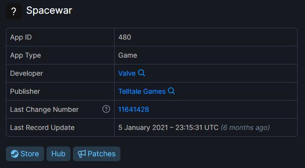 info del gioco spacewar