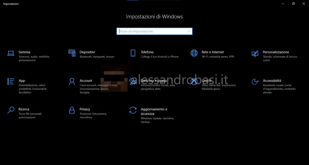 Vecchio stile delle impostazioni di Windows 10